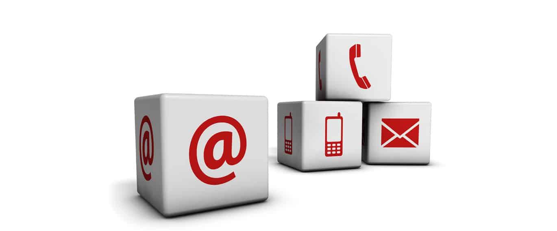Kontakt - Würfel mit @, Handy und Email Symbol