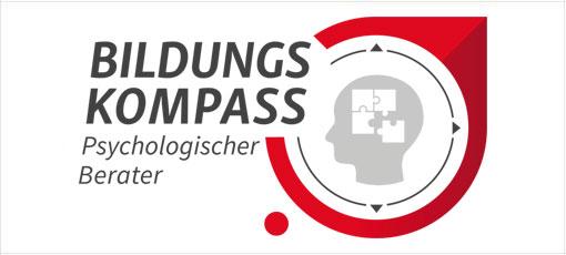 Logo Psychologischer Berater mit Kopf aus Puzzelteilen in der Mitte
