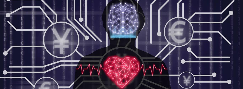 Wirtschaftspsychologie Studium - Gehirn und Herz im Körper dargestellt mit Pfaden zu Währungssymbolen