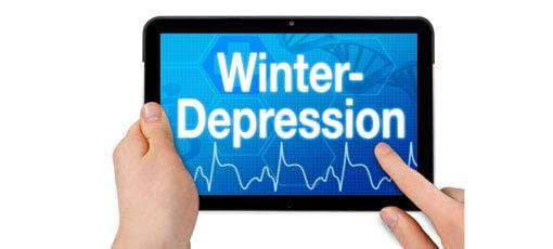 iPad auf dem das Wort Winterdepression steht